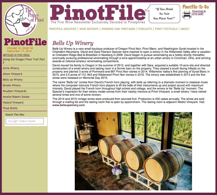 The Prince of Pinot reviews Bells Up Winery's current wine lineup
