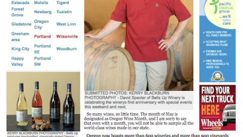 Pamplin Media Group newspapers feature Bells Up Winery in April, May 2016 articles