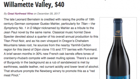"Great Northwest Wine Rates 2015 Titan Pinot Noir ""Excellent"""