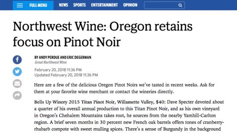Tri-City Herald's Northwest Wine Highlights Oregon Pinot Noir, Including Bells Up's 2015 Titan