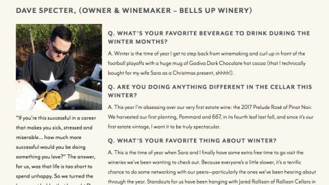 Bells Up Winemaker Dave Specter Featured In #WVCellarSeason Q&A